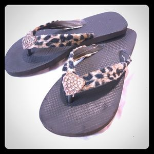 Shoes - Custom Leopard Heart Sandals
